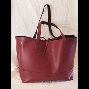 J. Crew Uptown Leather Tote Burgundy Wine Large
